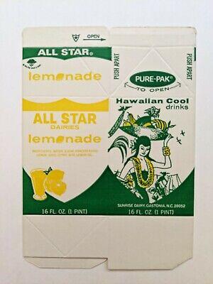 All Star Sunrise Dairy Gastonia NC Hawaiian Cool Lemonade Unused Pint Carton