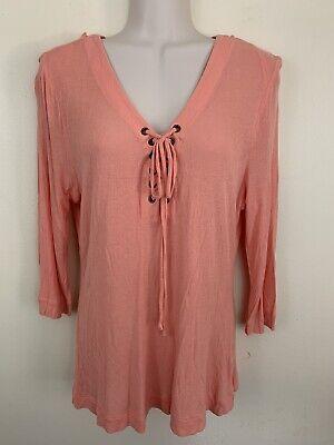 Jennifer Lopez Tunic Top Shirt Peach Orange Long Sleeve Womens Large -