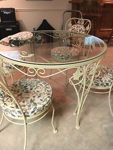Wrought Iron Glass Top Table with 4 chairs