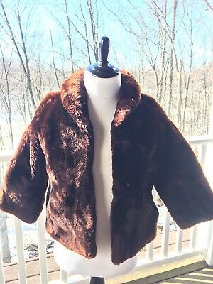 Vintage Womens Fur Lamb Coat Jacket 1940s Fashion Style Brown Medium Small