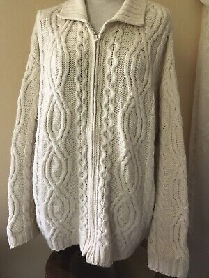 Aran Crafts Merino Wool Sweater Cardigan Ivory Size XL Womens