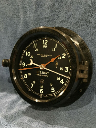 ** Fully Restored** WWII US NAVY 12/24hr. Chelsea Ship Clock Serial No. 452673