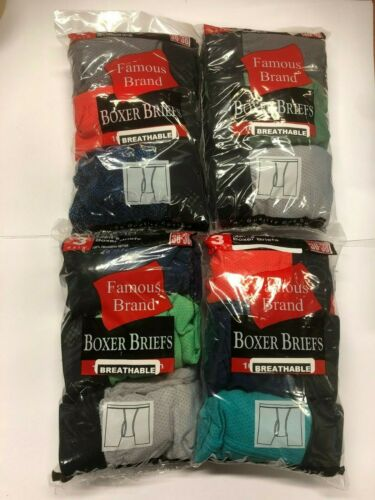 FAMOUS BRAND 12 PK  MEN  BREATHABLE BOXER BRIEFS FRUIT OF THE LOOM