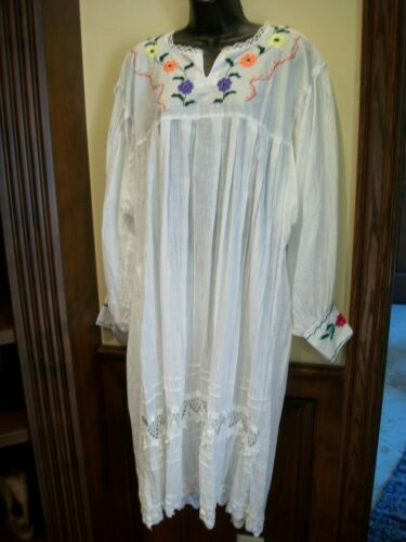 NWOT Mexican White L/XL Peasant DRESS GOWN Hand Embroidered COTTON LACE SUMMER