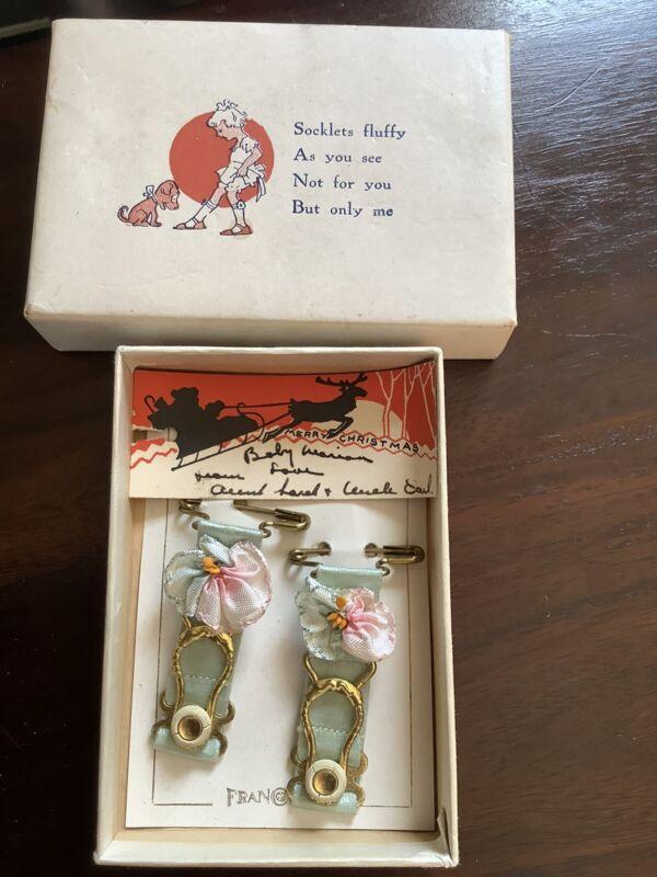 Vintage antique from 1920's girls garters , socklets in original box Franconia