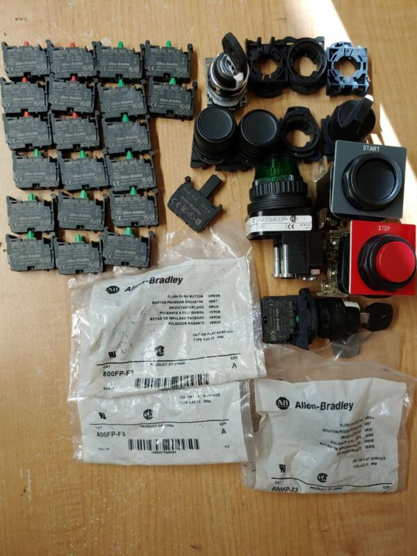 Lot of Allen bradley switches push buttons and other items.