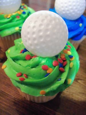 12 Golf Ball 3D Cupcake Topper Sport  Party Decoration Golf Balls