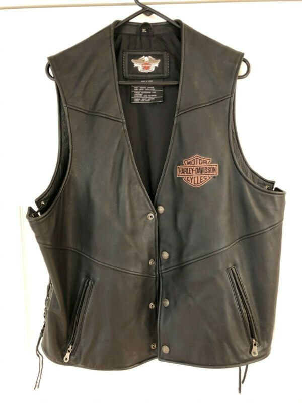 Harley Davidson Black Leather vest men