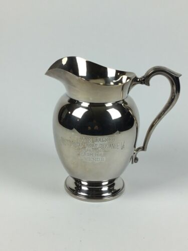 """Vtg Reed & Barton Silverplate Water Pitcher 5680 8 H.P., Engraved, 8-5/8"""" Tall"""