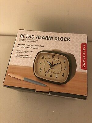 Retro Alarm Clock Green Kikkerland Battery Operated Glow In The Dark