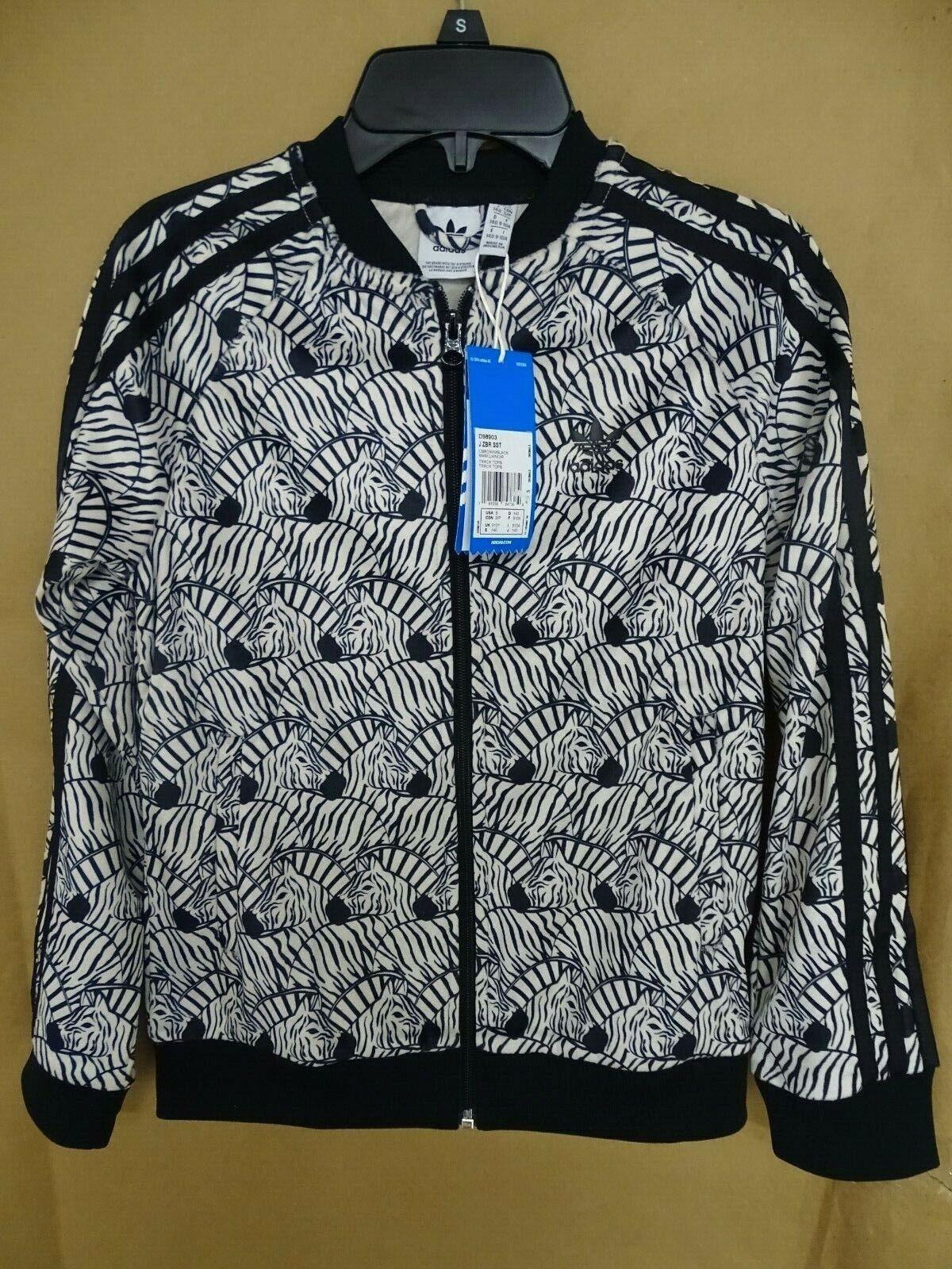 NEW adidas Big Girls Superstar Track Jacket Zebra-Print Velo