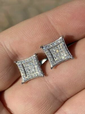 Mens Real 925 Solid Sterling Silver Iced Kite Diamond Earrings Studs 10mm -
