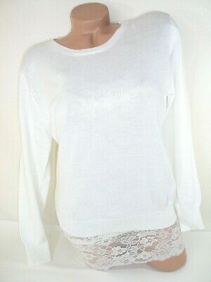 Classic Cashmere Crewneck Sweater (Pure White Cashmere Sweater Women's Large Pullover Crewneck Soft Stretch)
