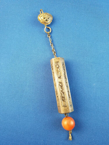 Antique Chinese Silver Chatelaine Needle Case Hallmarked Carnelian Bead