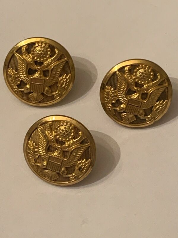 Three (3) WWII US Army eagle BUTTONS N.S. MEYER INC NEW YORK die-cut look