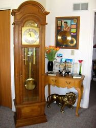 Hamilton Large Grandfather Clock, Cumberland Model Solid Chestnut Wood... L@@K