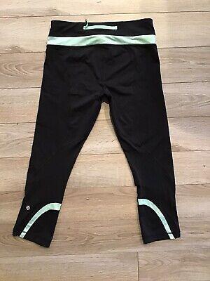 Lululemon Run Inspire Crop Capri Black Mint Polka Dot Luxe Legging Sz 6 GUC