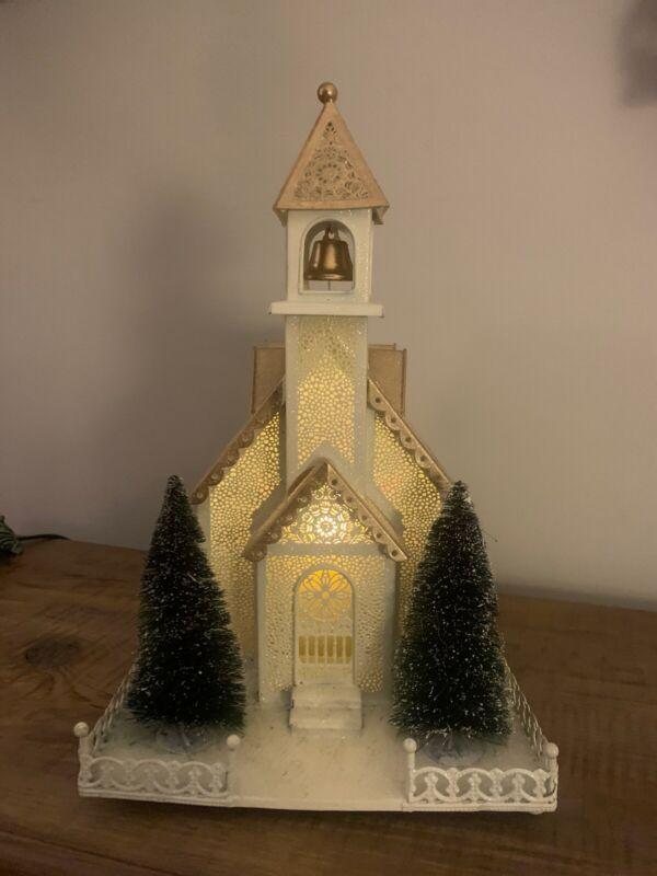 Large Galvanized Metal Christmas Church Candle Holder Village Scene