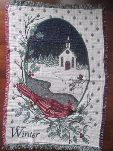 Red Cardinal Christmas Winter Throw Blanket Church Woven Cotton Tapestry 64x44