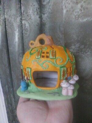 Vintage Halloween Pumpkin House Ceramic Decoration votary candle holder Autumn