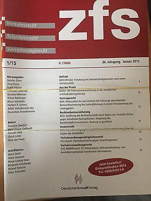 ZfS Zeitschrift für Schadensrecht Sammlung Jahrgang 2015 8 Hefte +  2016 Heft 1