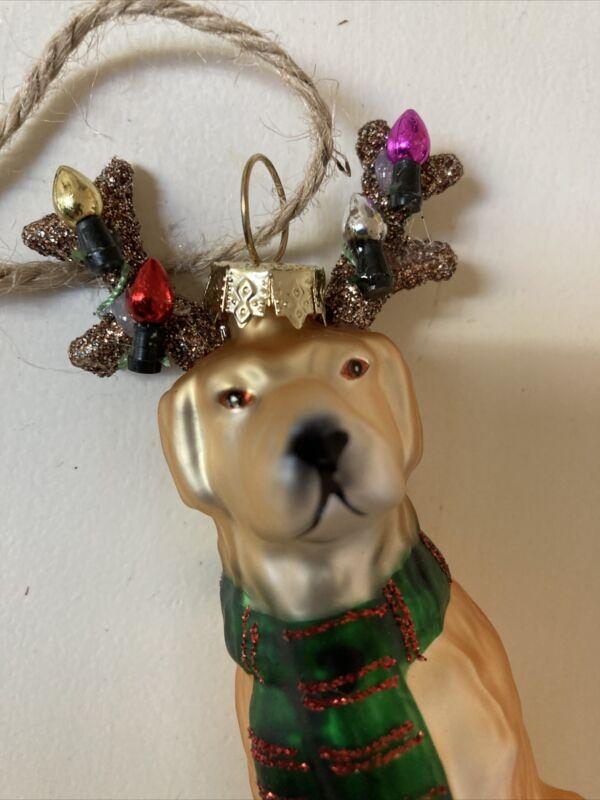 Pottery Barn Dog Mercury Glass Christmas Ornament Christmas Antlers withLights