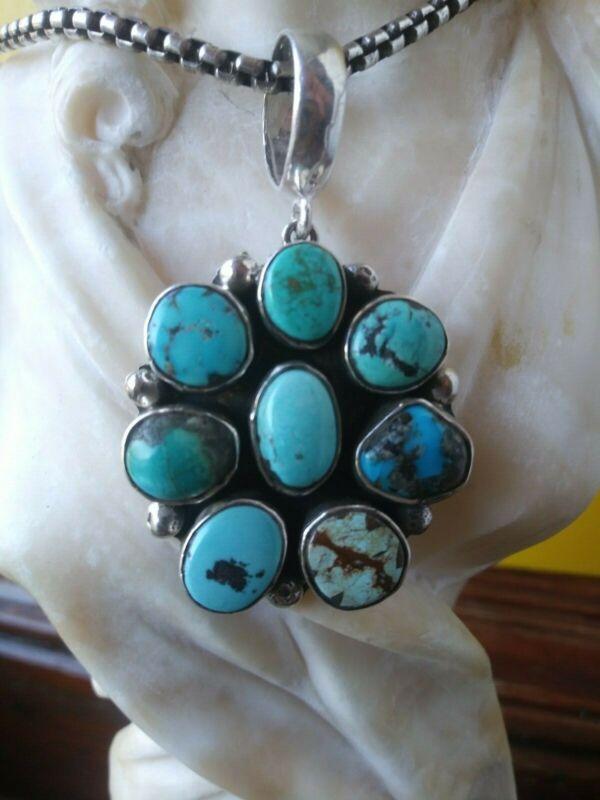Turquoise pendant cluster Charlene Yazzie Deep Blue Green Vivid Color Large