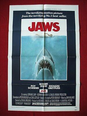 JAWS * 1975 ORIGINAL MOVIE POSTER 27x41 VINTAGE STEVEN SPIELBERG E.T. HALLOWEEN (Steven Spielberg Halloween Movies)