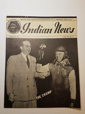 INDIAN MOTORCYCLE NEWS SEPTEMBER 1941 MAGAZINE SPRINGFIELD MA MANUAL OWNER SCOUT for sale  Chelsea
