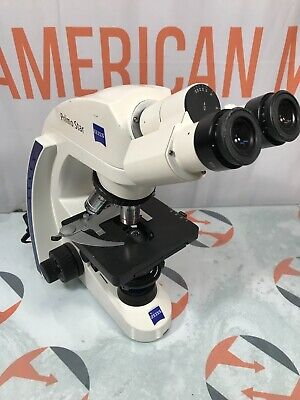 Zeiss Primo Star Microscope With 3 Lenses And Eyepieces