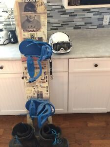 Snowboard, helmet, goggles, and boots for sale!