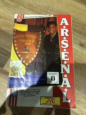 Arsenal Programme 1989 League Winning Season V Spurs 2 Jan 1989