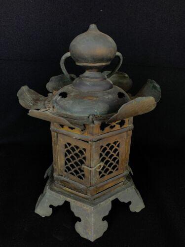 Japanese Antique Tsuri Toro Bronze Shrine Temple Hanging Lantern (b900)カカ