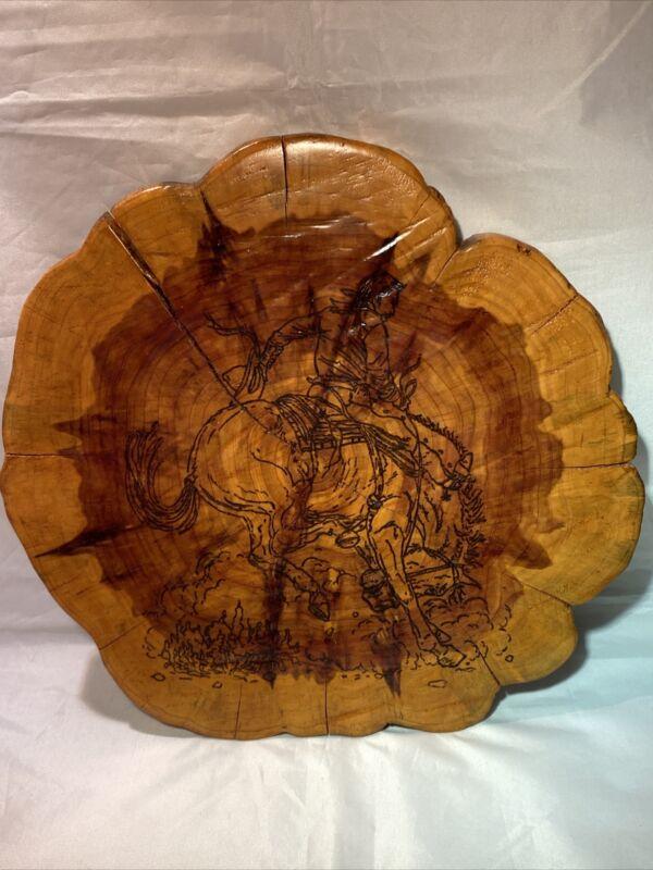 Handmade Wood Burned Cedar Slab Western Cowboy Bucking Bronco Cabin Decor Plaque