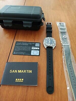 San Martin 6105 MOP Mother Of Pearl Dial Automatic Watch Seiko NH35 Sapphire