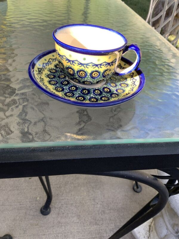 Adorable BOLESLAWIEC Polish Pottery Blue & Yellow Cup and Saucer