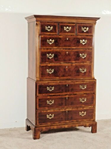 ANTIQUE Chippendale Henredon ASTON COURT Inlaid Mahogany Tall Chest or Highboy