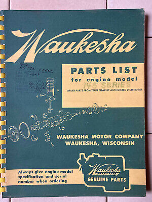Waukesha Parts List Book For 145 Series Gas Gasoline Engines