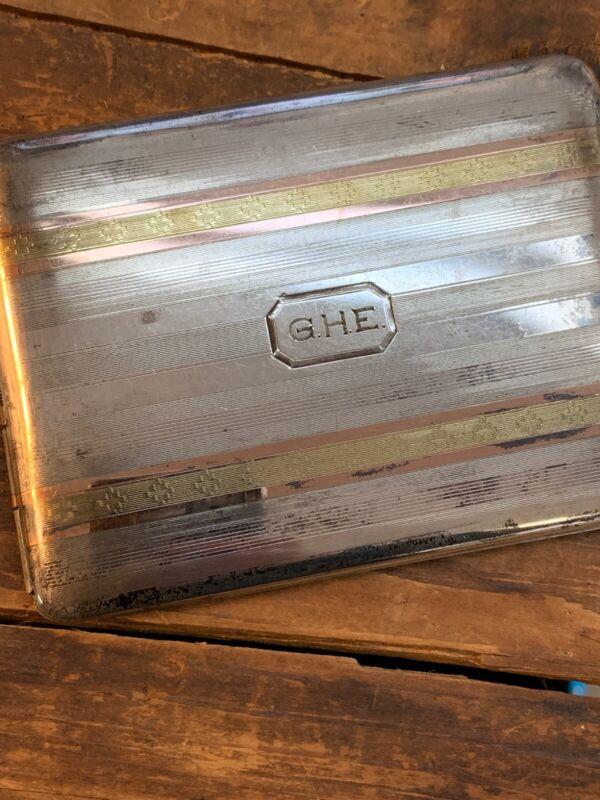 Antique Art Deco sterling silver & 14k rose gold cigarette case Marathon