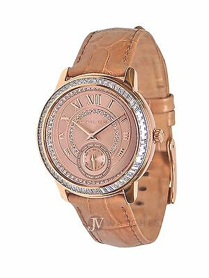 New Womens Michael Kors  Mk2448  Madelyn Beige Strap Rose Gold Dial Watch Sale