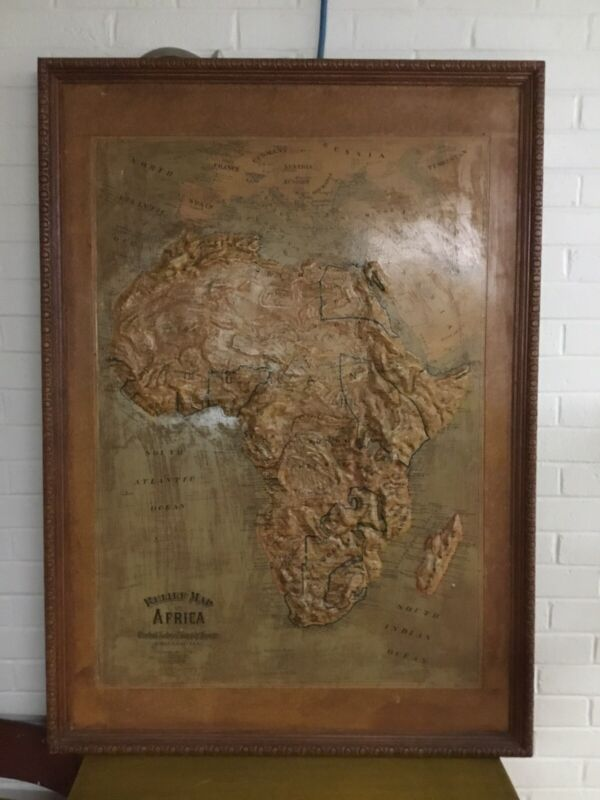 """ANTIQUE LARGE FRAMED CENTRAL SCHOOL SUPPLY HOUSE RELIEF MAP OF AFRICA 49""""X 34"""""""