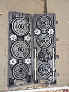 50 kg gym set barbell dumbbells weights carry case CanDeliver Kingsford Eastern Suburbs Preview