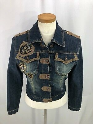 Rosa Rose Denim (Rosa & Rose Womens Embellished Denim Jacket Coat 8 NWT)