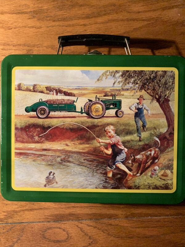 """Vintage John Deere """"Turtle Trouble"""" Lunch Box Tin Never Used"""