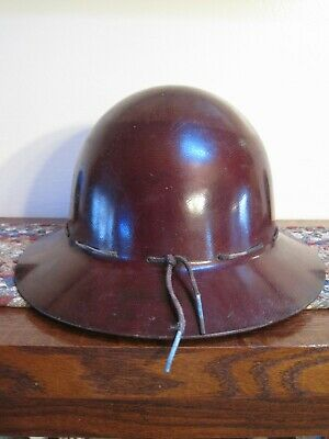 Vintage Brown Fiberglass Miner Ironworker Msa Skullgard K Safety Hard Hat