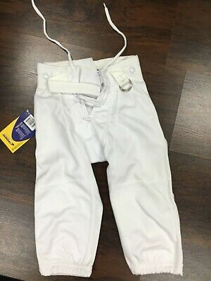 Football Practice Pants Half Belt Snaps Lace Up Fly Youth White Russell Athletic