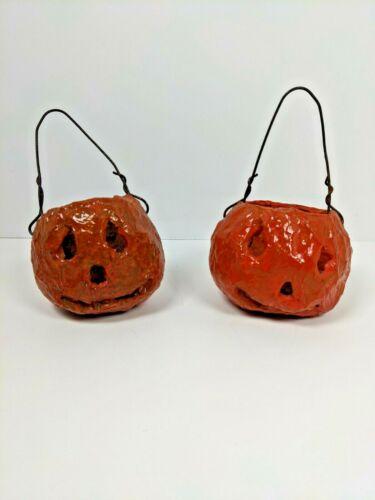 (2) Vintage Paper Mache Halloween Jack-o-Lantern Pumpkin Candy Bucket Primitive