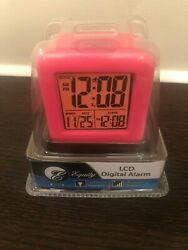 NIB 70902 Equity by La Crosse Soft Cube LCD Digital Alarm Clock - Pink