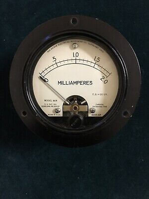 Vintage Hickok Milliamperes Meter Gauge 0-2 Model 46r