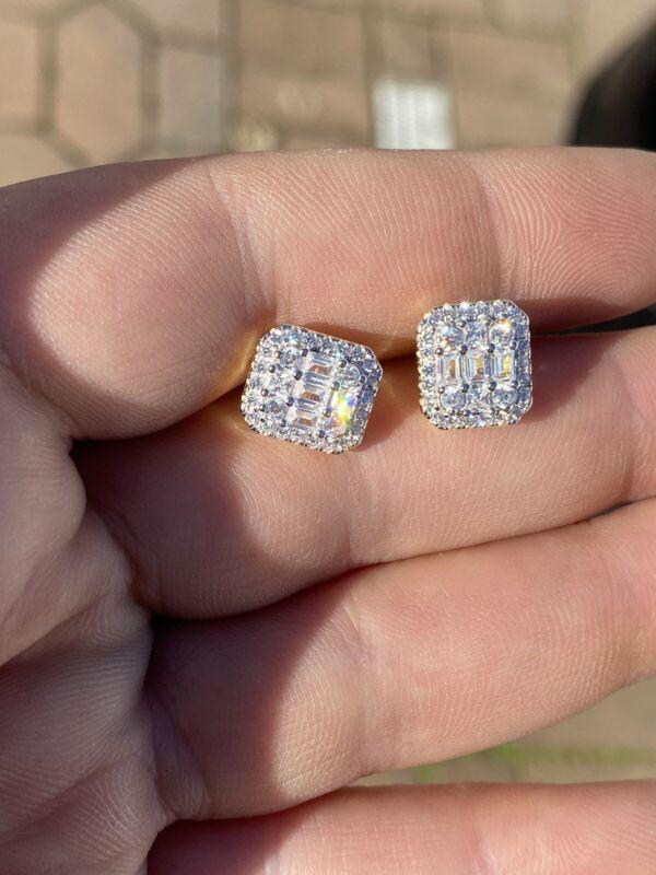 Men's Real Solid Sterling Silver Iced Baguette Diamond Hip Hop Earrings Studs